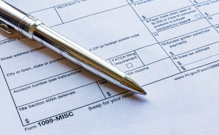 Independent contractors complete the 1099 tax form.